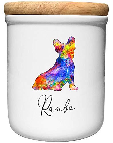Cadouri Keramik Leckerli-Dose FRANZÖSISCHE Bulldogge » personalisiert mit Name deines Hundes...