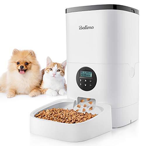 Balimo 4L Automatisch Futterspender für Katzen und Hunde, Automatischer Futterautomat mit Timer und Ton...