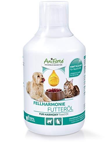 AniForte Fellharmonie Futteröl für Hunde & Katzen 500ml - Natürliche Fellpflege für seidig...