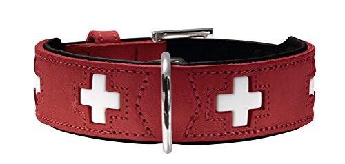 HUNTER SWISS Hundehalsband, Leder, hochwertig, schweizer Kreuz, 65 (L), rot/schwarz