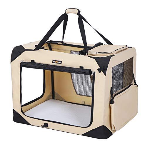 FEANDREA Hundebox, Transportbox für Auto, Hundetransportbox, Faltbare Katzenbox aus Oxford-Gewebe, M, 60...