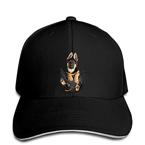 Baseball Cap Schäferhund, Klassische Baseballkappe mit Tasche, Hund, schwarzer Mann, gemacht,...