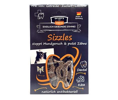 Qchefs SIZZLES |Hunde Zahnpflege-Snack| Leckerli Training| gegen Mundgeruch & Zahnfleischentzündung|...