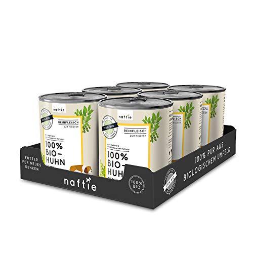 naftie Bio Hundefutter 100% Bio-Huhn | Reinfleisch Huhn pur | Hunde-Nassfutter zum Mischen, Barf-Fleisch...