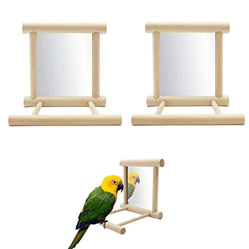 Seully 2 Stück Papagei Vogelspiegel, Vogelständer Barsch mit Spiegel, Vogelkäfig Barsch Spiegel...