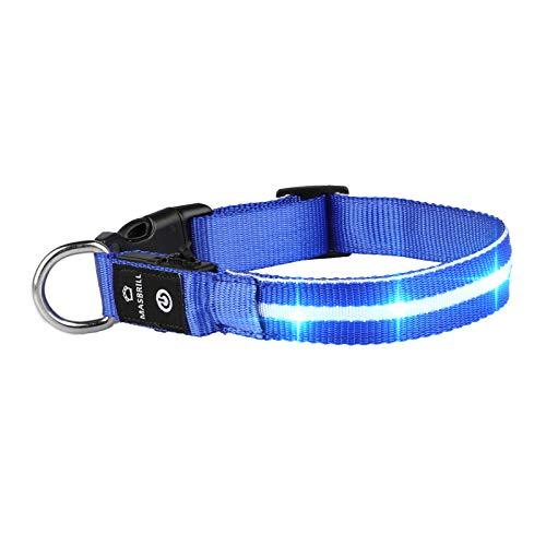 MASBRILL Leuchthalsband für Hunde Aufladbar LED Hundehalsband 100% Wasserdicht Blinkende Lichter mit USB...