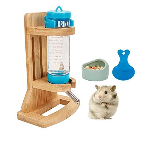 Hamster Trinkflasche mit Ständer, Einstellbar Holz Hamster Wasserspender Ständer Meerschweinchen...