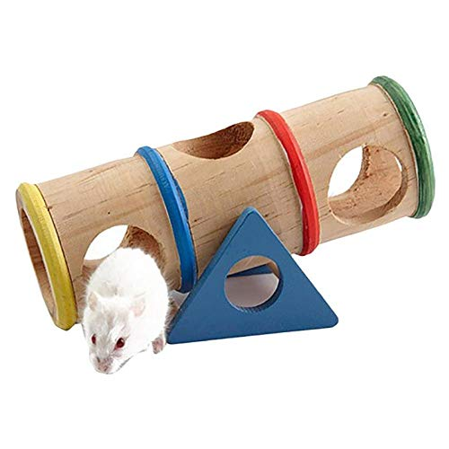 PetMeows 1 Stück Hamster Wipprohr Holz Hamster Wippe Spielzeug Wippe Tunnel Spielzeug Hamster Haustier...