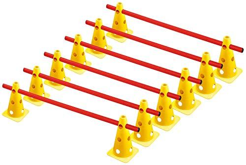 RHINOS sports Steckhürdenset, Kegelhürden 6er-Set   22,5cm   gelb