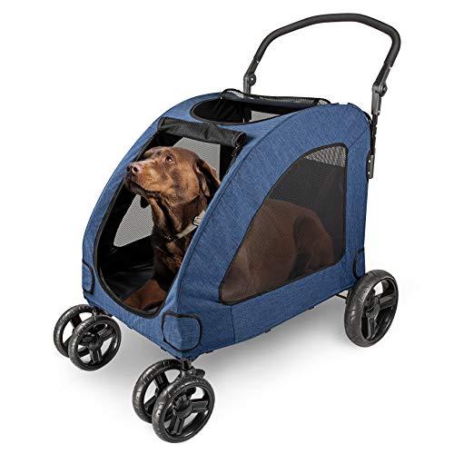Wooce Hundewagen Haustier-Kinderwagen mit vier Rädern, zusammenklappbar, für mittelgroße und große...