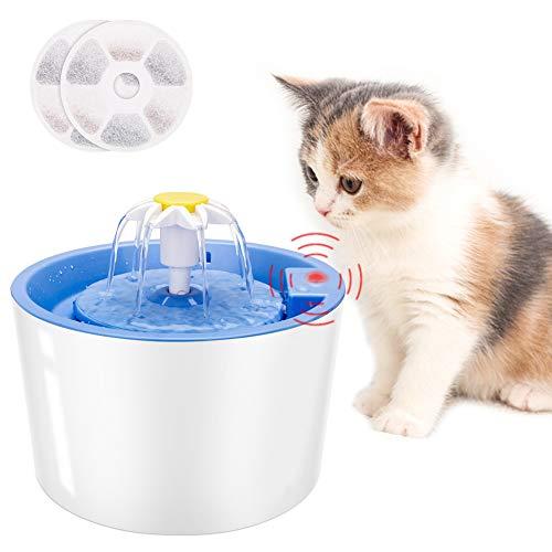 Coquimbo Katzen Trinkbrunnen, 1.6L Wasserspender für Katzen und Hund mit LED Sensor-Funktion, 3 Modi Cat...