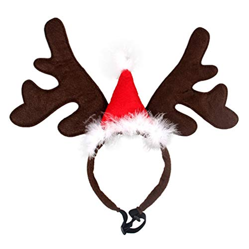 PRETYZOOM Weihnachten Haustier Stirnband Rentiergeweih Stirnband Elchgeweih Haarreif mit Weihnachtsmütze...