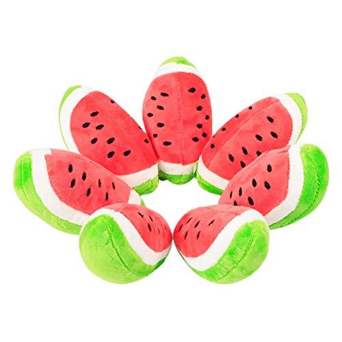 PULABO 1 x rotes Plüschspielzeug in Wassermelonenform für Hunde, Backenzähne, Katze, Zahnreinigung,...