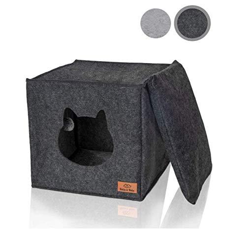Bella & Balu Filz Katzenhöhle inkl. Kissen + Spielzeug (ideal für Ikea Kallax und Expedit) – Faltbare...