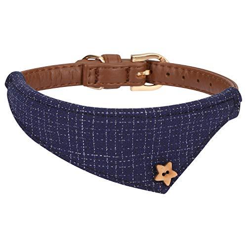 Hanko Süßes Leder Haustier Halsband, Plaid Dreiecktuch Dreiecktuchkrawatte Stil für Hunde, Katzen,...