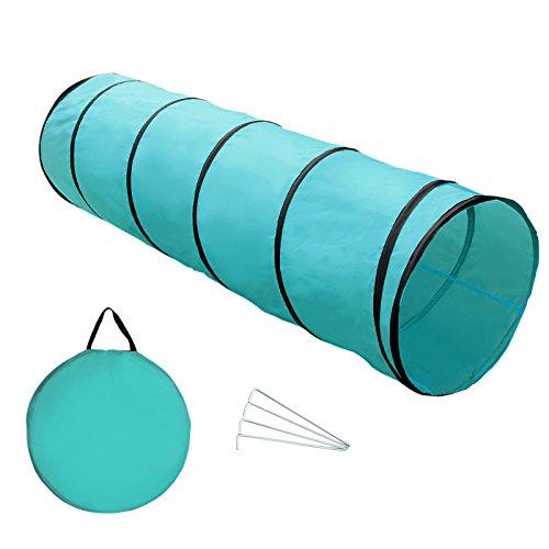 Yorbay Hundetunnel Hunde Agility Tunnel Spieltunnel, Blau, 200 x 60cm, mit 4 Heringe und Tragetasche...