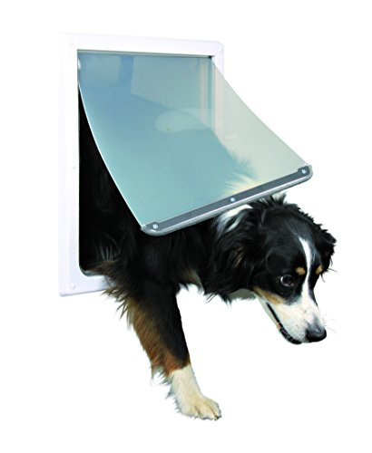 Trixie Pet Products Hundetür, 2-Wege-Verriegelung, für mittelgroße bis große Hunde, Weiß