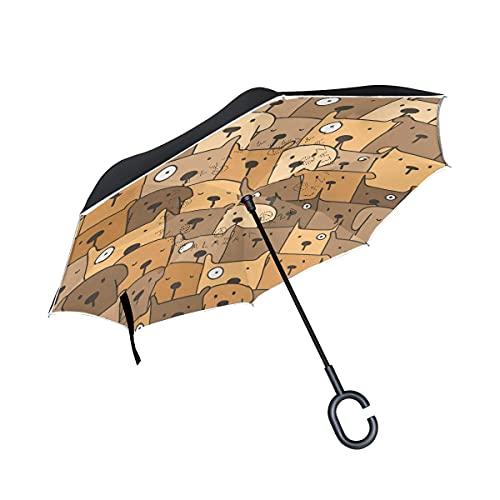 Taschenschirme Hund Cartoon Mops Grau Invertierter Regenschirm UV-Schutz Winddichter Umbrella Invertiert...