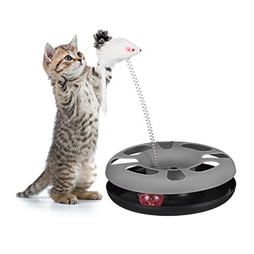 Relaxdays 10023896_111, grau Katzenspielzeug mit Maus, Kugelbahn, Ball mit Glöckchen, Cat Toy,...