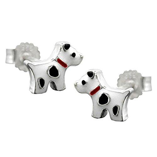 Stecker 6x8mm Kinderohrring Hund mit Flecken farbig lackiert Silber 925