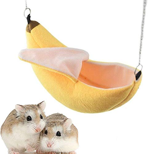 MICOKA Banana Hamster Bett Haus Hängematte Kleintier Warm Bett Haus Käfig Nest Hamster Zubehör für...