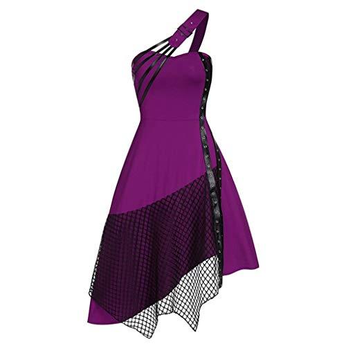 NHNKB Damen Gothic Kleid Elegant Renaissance Kleidern Corsage Kostüm Eine Schulter Trägerkleid...