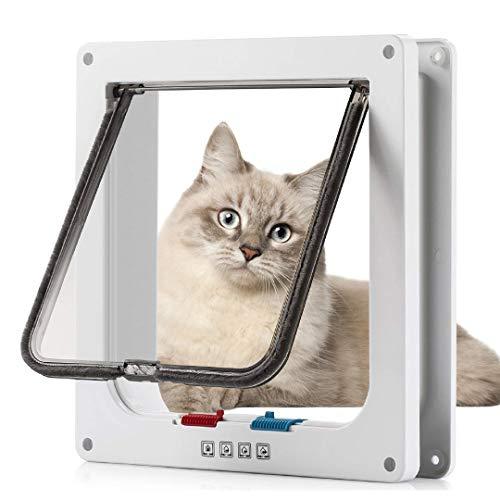 Sailnovo Katzenklappe XL Hundeklappe 4 Wege Magnet-Verschluss für Katzen, Klein Hunde, 28,5 * 24,5 *...
