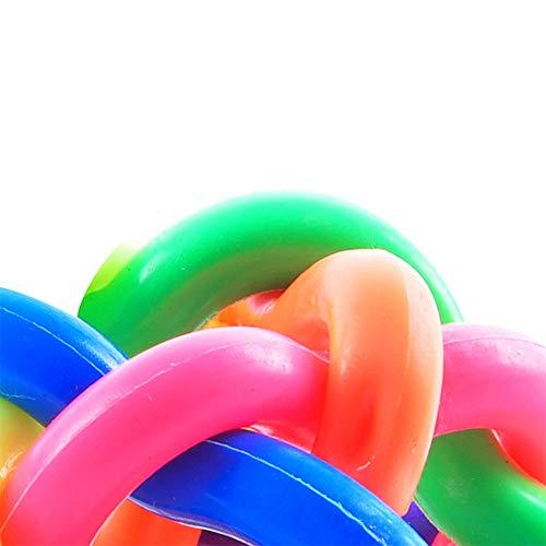 SADF Haustier bunt gewebte Glocke Ball Regenbogen Gummiball Hund Kauspielzeug hundeball wasserspielzeug...