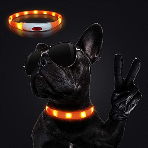 Sooair LED Leuchthalsband Hunde Halsband USB Wiederaufladbar Längenverstellbareres Hunde Halsban,...