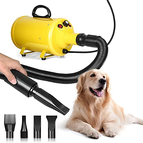 Hundefön Hundetrockner, 2800W Pet Dryer Geschwindigkeit und Temperatur einstellbarer Pet Trockner,...