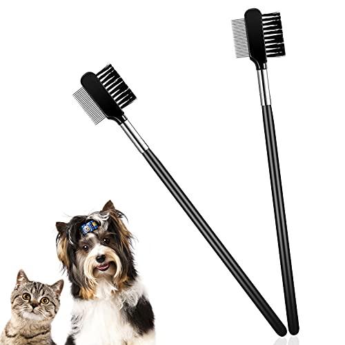 2 Stücke Tränenfleck Entfernung Kamm Hunde Augen Pflegekamm Doppelseitiger Hunde Augen Kamm zum...
