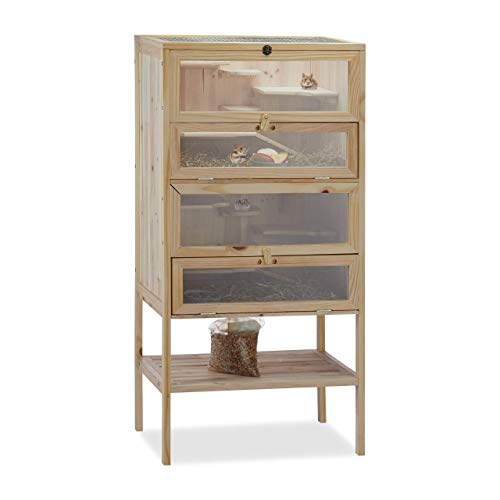 Relaxdays Hamsterkäfig aus Holz, 3 Etagen, Klappen, Sichtfenster, Gitterdach, Nagerkäfig XXL, HBT:...