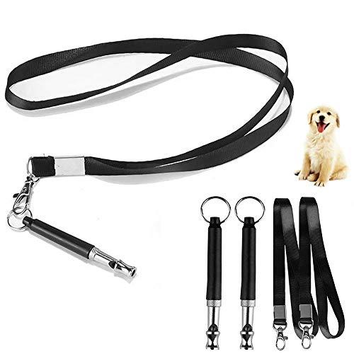 HO2NLE 3 Stück Hundepfeife Ultraschall Pfeife Hochfrequenz Verstellbar Trainingspfeife mit Umhängeband...