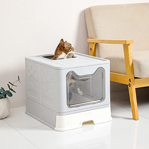 Katzentoilette, Eingang vorne und oben, faltbar, Katzentoilette für Katzen, sehr großer Platz, mit...