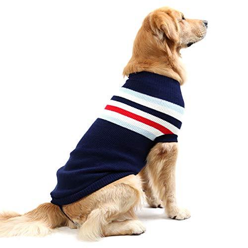 Fashion Gestreift Hund Pullover Weste Warm Fell Weich Stricken Wolle Winter Pullover Strick Crochet...
