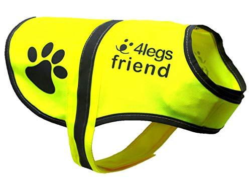 4LegsFriend Hunde Sicherheitsweste mit Leinenbefestigungsring 5 Größen - Hohe Sichtbarkeit für Outdoor...