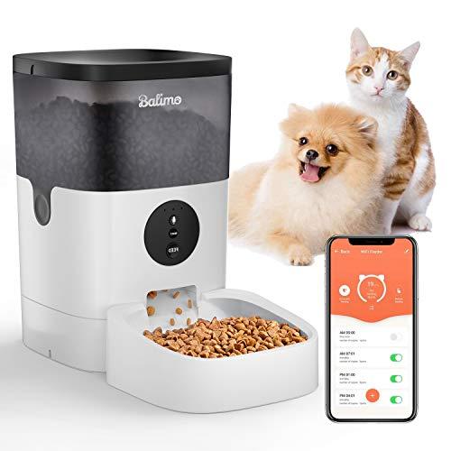 Balimo 4L WiFi Automatischer Futterspender für Katze und Hunde,Futterautomat Katze & Hund mit Ton...