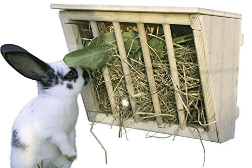 Kerbl Heuraufe für Kaninchen (Raufe aus Holz, mit Sitzbrett, verhintert Verunreinigung und Verleztungen...