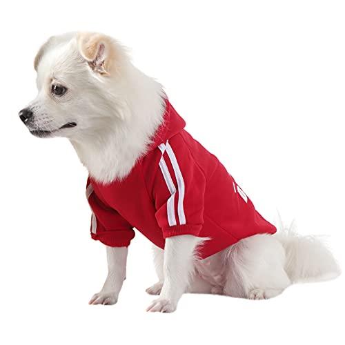 QiCheng&LYS Hundehoodie kleine Hunde Strickpullover wintermantel für kleine Hunde (Rot, XL)