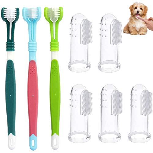 8 Stück Hund Zahnbürste,Hundezahnbürste Finger,Haustier Zahnbürste,Zahnbürsten für Hunde,Pet...