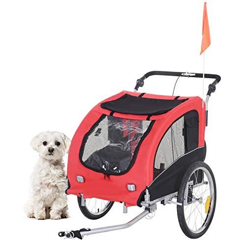 GXK 2 in 1 Hundeanhänger Fahrradanhänger Jogger Fahne Regenschutz für Hunde 4 Farbe (Color :...