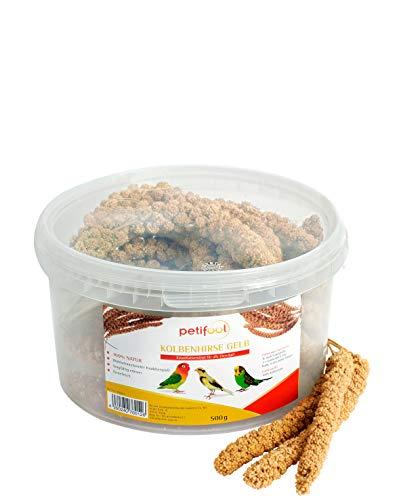 petifool Kolbenhirse gelb 500g - Einzelfuttermittel für alle Ziervögel - Vogelfutter - 100% Natur