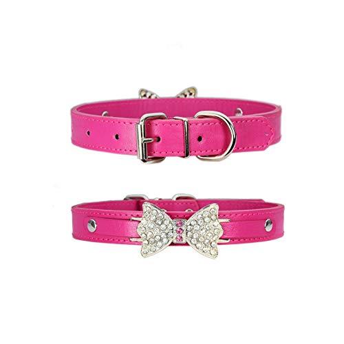 Hundehalsband mit Strass, Rosa, Lederleine für große Hunde, Halsband verstellbar, für Sicherheit für...
