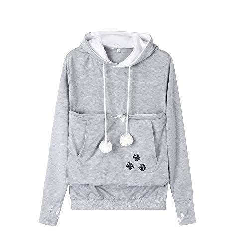 Dehots Damen Pullover Kapuzenpullover mit Katzen Hund Tasche Hundetasche Katze Sweatshirt Pulli Hoodie...