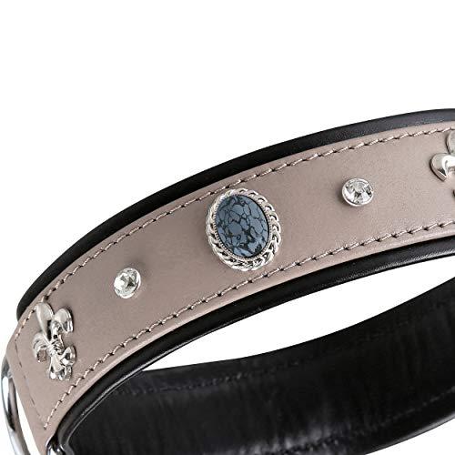 MICHUR Rodrigo Hundehalsband Leder, Lederhalsband Hund, Halsband, Taupe,Grau-schwarz, Leder, mit...