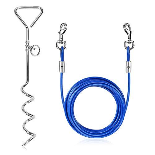 Welltop Anlegespirale Anlegepflock mit Hundeleine, 15 Zoll Anlegepflöcke für Hunde mit 16 Fuß Tie-Out...