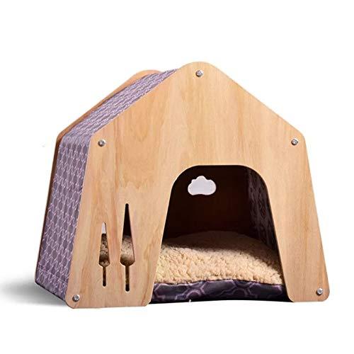 thematys Hundehütte aus Holz mit Stoffbezug I Hunde-Haus für Drinnen und Draußen I Schlafplatz für...