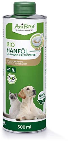 AniForte kaltgepresstes Bio Hanföl für Hunde & Katzen 500 ml - 100% reines Barf Öl als Zusatz, Premium...