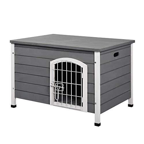 Pawhut Hundehütte Hundehaus mit Tür Hundebox Gitterbox TransportKäfig für Katzen Hasen Grau Tanne...