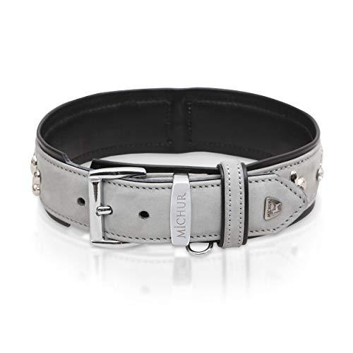 MICHUR Leon Hundehalsband Leder, Lederhalsband Hund, Halsband, Grau-Schwarz, Leder, mit...